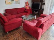 Couchgarnitur 4-teilig rot gut erhalten