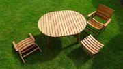 Gartenmöbel-Set aus Holz 1 ovaler
