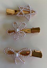 3 Haarspangen mit Kunstperlen Schleife