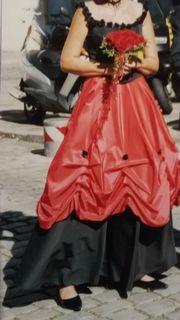 Abendkleid schwarz - rot