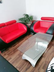Couch Echtleder rot schwarz sehr