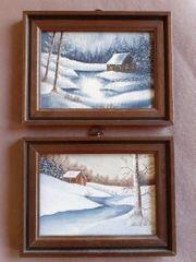 kleine Öl Gemälde Holzrahmen Landschaft
