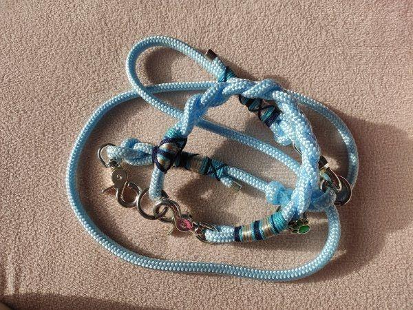 Leine Halsband Tau Blau inkl