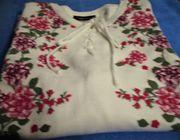 Da - Pullover weiß mit Blumenmuster