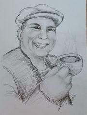 Lass mal Kaffee trinken Zeichnung