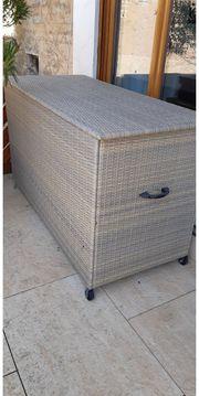 Kissenbox Staubox Auflagenbox Rattan vintage