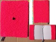 Buchhülle rosa Zierknopf schwarz mit