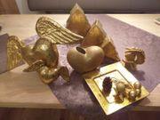 Weihnachtsdeko goldfarben 8-teilig kompl zu