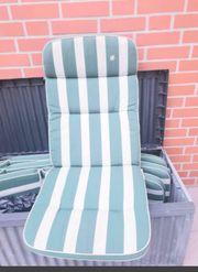 Gartenliegen Auflage Sitzauflage reversibel Grün-Weiß