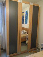 Kleiderschrank mit Spiegeltür Holz-Nachbildung