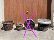 Deko Garten Weidenkorb Trommel Waschmaschine