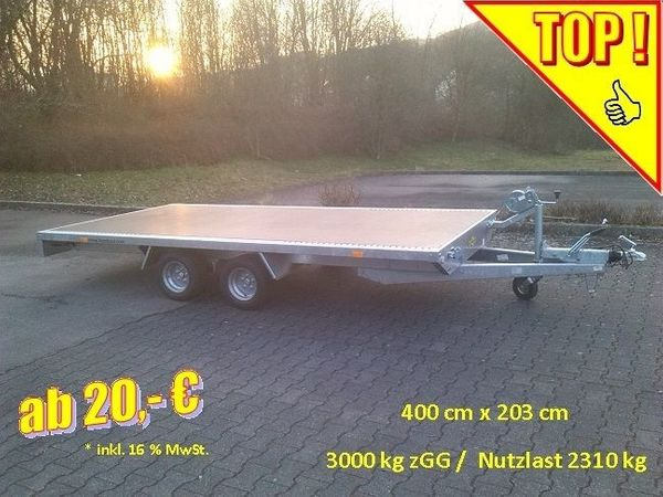 Anhängerverleih Plateau - Anhänger 3000 kg