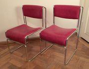 2 Stühle Küchenstühle Chrom Rot