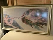 Großer Holzbilderrahmen mit Engel Götter