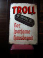 1 Emaile Eisenschild Troll Brikett