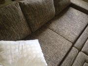 Couch mit Hockern braun beige
