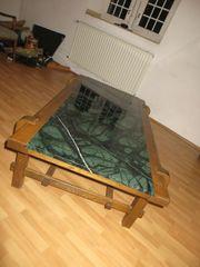 Marmor-Tisch mit echt Eiche- Massivholz-