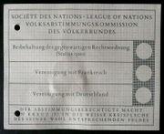 Stimmzettel zur Saarabstimmung am 13