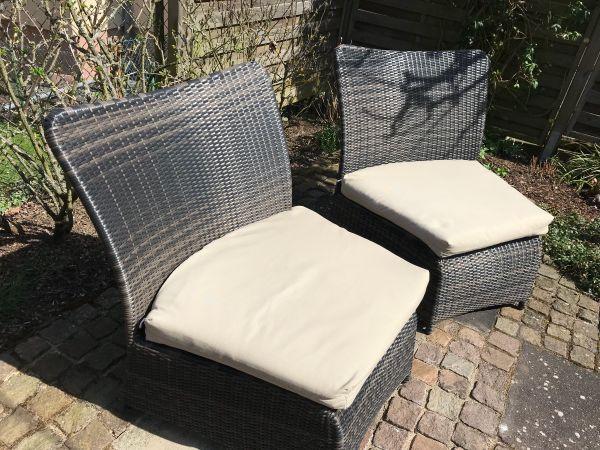 Loungemöbel 2 Designer Sessel Polyrattan Mit Auflagen Braun In