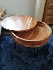 Couchtisch Akazie Holz massiv rund