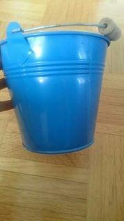 Blumentopf Eimer Metall blau