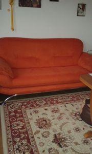 orangefarbene Velours SITZGARNITUR 3er 2er