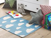Kinderteppich Baumwolle blau 60 x