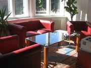 hochqualitative Leder-Couch m zwei Sessel
