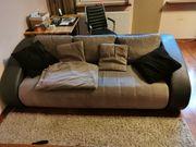 Wildleder Synteticleder Schlaf-Couch Schwarz Grau