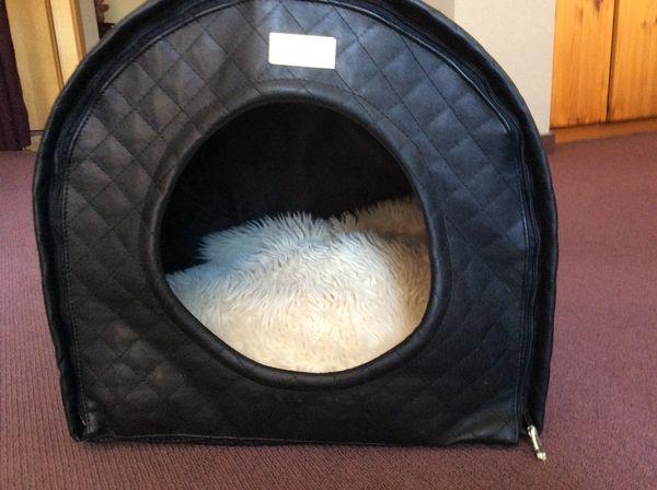 Hunde Katzenhöhle Kunstleder schwarz