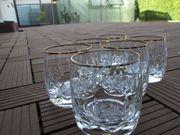 6 dekorative Gläser mit Goldrand