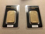 2 mal 1 Unze Goldbarren