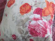 2 x Zierkissen rosa-orange Rosen