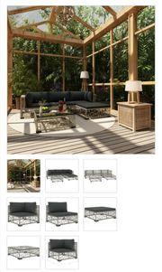 5-tlg Garten-Lounge-Set mit Auflagen Poly