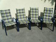 4 Gartenstühle blau Metall mit
