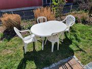 Gartenmöbel weiß Set Tisch u