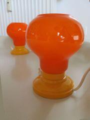 2 orange Tischleuchten Nachttischlampen 60er