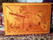 Holzbild Intarsien leichte Beschätigungen 15 -