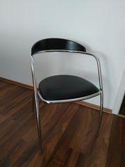 2 Stühle-Chrom-schwarz