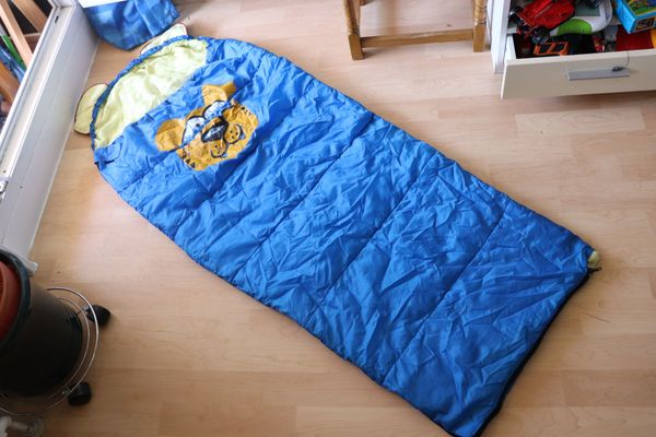 Schlafsack Kinderschlafsack blau Outdoor Wandern