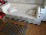 Rattan Couch bank Sessel weiß