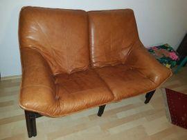 Polster, Sessel, Couch - 1 Rattan Ledersofa