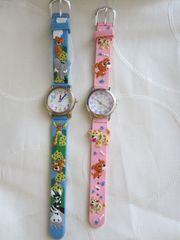 Kinder Armbanduhr rosa Welpen puppies