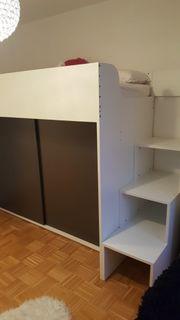 Modernes Hochbett mit Schrank Unterbau
