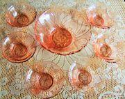 Rosé-Glas-Service-zusätzlich 2 passende Torten-Platten