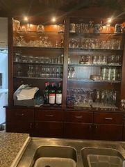Edelstahl - Holz Theke-Bar aus Restaurantauflösung -