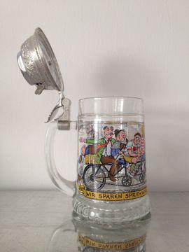 Bild 4 - Glasbierkrug BMF - Radlerseidel mit Scharnierdeckel - Calw Hirsau