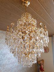 Hochwertiger Kron- Kristall-Leuchter Weinfurtner vergoldet