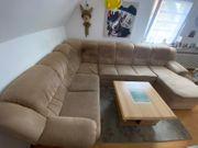 Sofa Couch mit Bettfunktion Couchtisch
