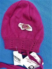 Babymützchen NEU Strickmützchen violett Baumwolle